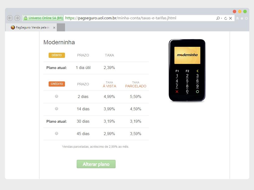 Prazos para venda na Moderninha