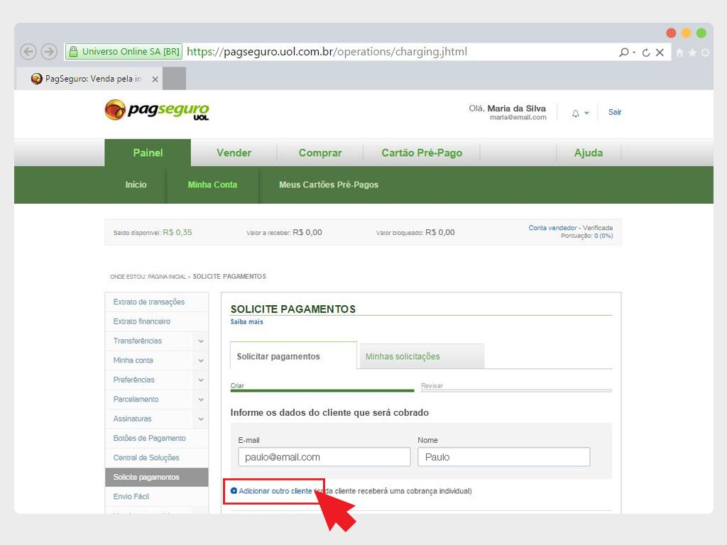 cobrar pagamentos por email